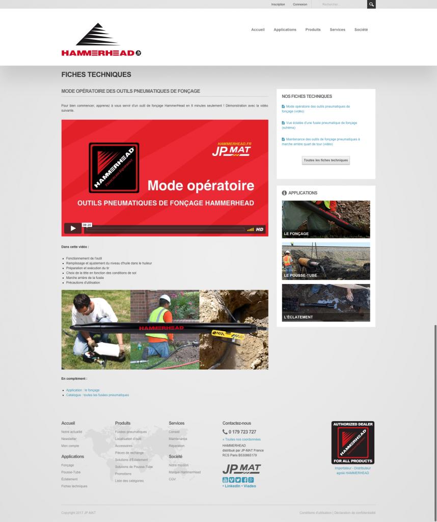 E-commerce B2B (JP-MAT), page vidéo